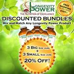 DISCOUNT BUNDLE: 3 BIG + 3 Small Jars (SAVE 20%) (*Longevity in a Bottle, Maca Bliss, Goji Joy, Epic Reishi, Revival Formula, Everlasting Youth, Pearl and Levity SHIP WITHIN 1-2 MONTHS*)