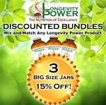 DISCOUNT BUNDLE: 3 BIG Jars (SAVE 15%) (*Longevity in a Bottle, Maca Bliss, Goji Joy, Epic Reishi, Revival Formula, Everlasting Youth, Pearl Extract and Levity SHIP WITHIN 1-2 MONTHS*)