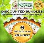 DISCOUNT BUNDLE: 6 BIG Jars (SAVE 20% + FREE SHIPPING) (*Longevity in a Bottle, Maca Bliss, Goji Joy, Epic Reishi, Revival Formula, Everlasting Youth, Pearl Extract and Levity SHIP WITHIN 1-2 MONTHS*)