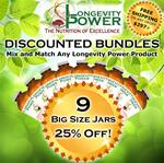 DISCOUNT BUNDLE: 9 BIG Jars (SAVE 25% + FREE SHIPPING) (*Longevity in a Bottle, Maca Bliss, Goji Joy, Epic Reishi, Revival Formula, Everlasting Youth, Pearl Extract and Levity SHIP WITHIN 1-2 MONTHS*)