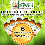 DISCOUNT BUNDLE: 6 Small Jars (SAVE 20%) (*Longevity in a Bottle, Maca Bliss, Goji Joy, Epic Reishi, Revival Formula, Everlasting Youth, Pearl Extract and Levity SHIP WITHIN 1-2 MONTHS*)