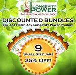 DISCOUNT BUNDLE: 9 Small Jars (SAVE 25%) (*Longevity in a Bottle, Maca Bliss, Goji Joy, Epic Reishi, Revival Formula, Everlasting Youth, Pearl Extract and Levity SHIP WITHIN 1-2 MONTHS*)